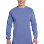 Comfort Colors Mens Long Sleeve Crewneck T-Shirt - Flo Blue