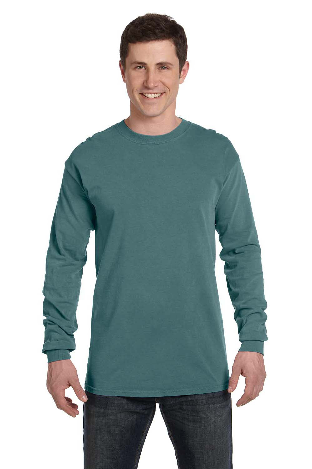 Comfort Colors C6014 Mens Long Sleeve Crewneck T-Shirt Blue Spruce Front