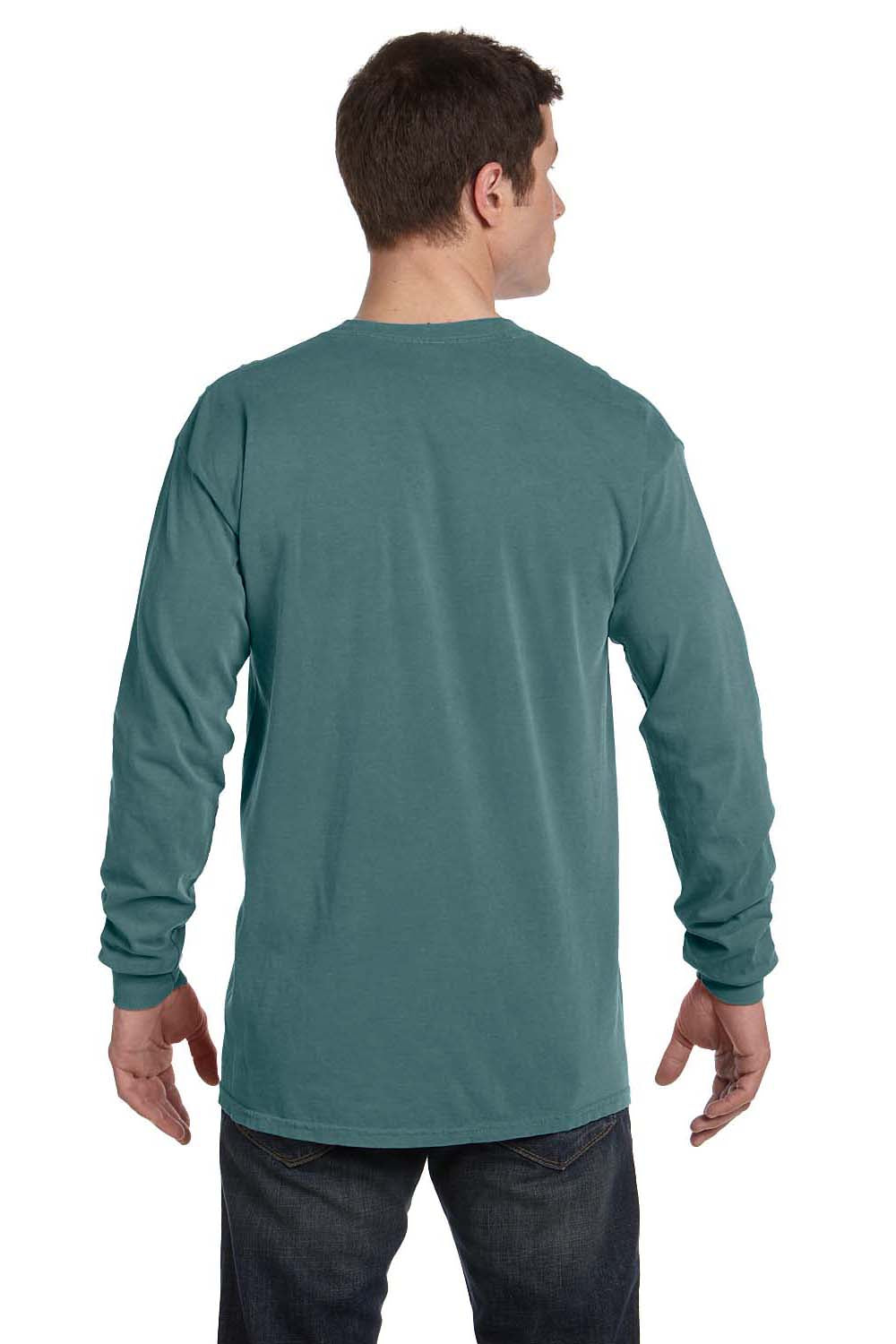Comfort Colors C6014 Mens Long Sleeve Crewneck T-Shirt Blue Spruce Back