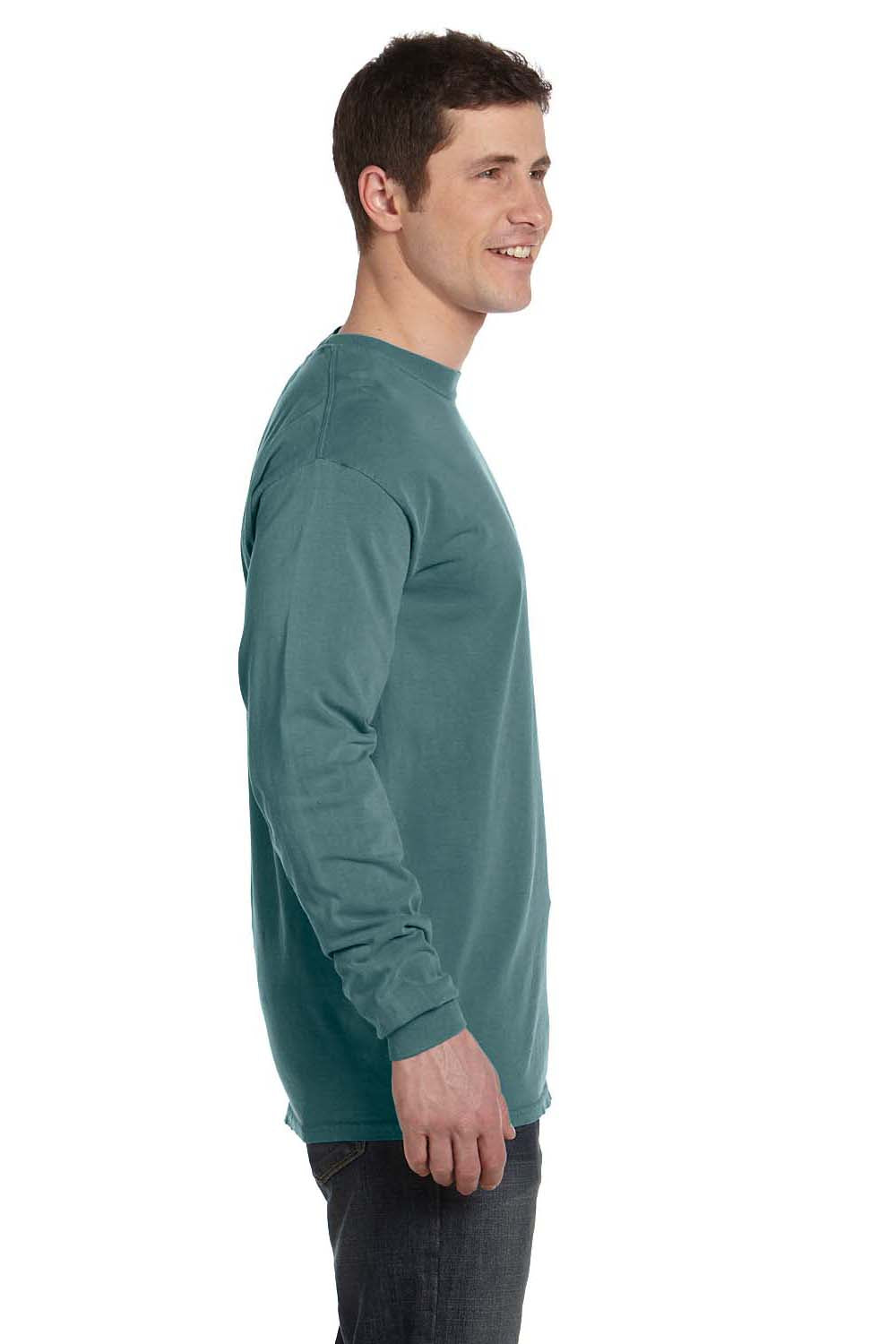 Comfort Colors C6014 Mens Long Sleeve Crewneck T-Shirt Blue Spruce Side