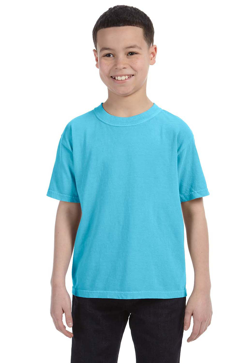 Comfort Colors C9018 Youth Short Sleeve Crewneck T-Shirt Lagoon Blue Front