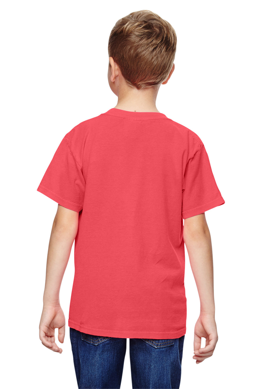 Comfort Colors C9018 Youth Short Sleeve Crewneck T-Shirt Neon Red Orange Back