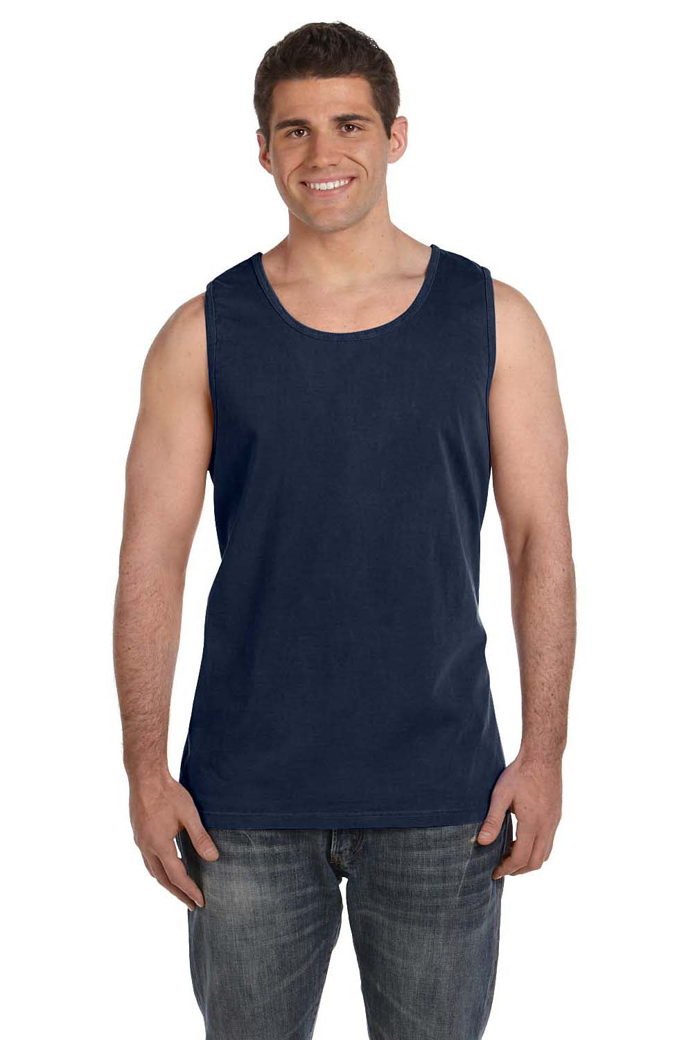 Comfort Colors C9360 Mens Tank Top Navy Blue Front