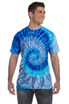 Tie-Dye CD100 Mens Short Sleeve Crewneck T-Shirt Blue Jerry Front