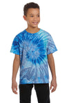 Tie-Dye CD100Y Youth Short Sleeve Crewneck T-Shirt Blue Jerry Front