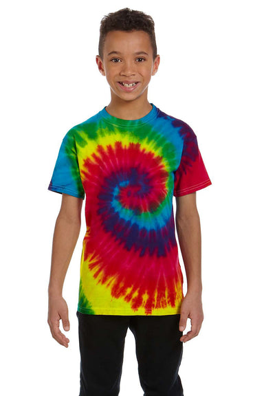 Tie-Dye CD100Y Youth Short Sleeve Crewneck T-Shirt Reactive Rainbow Front