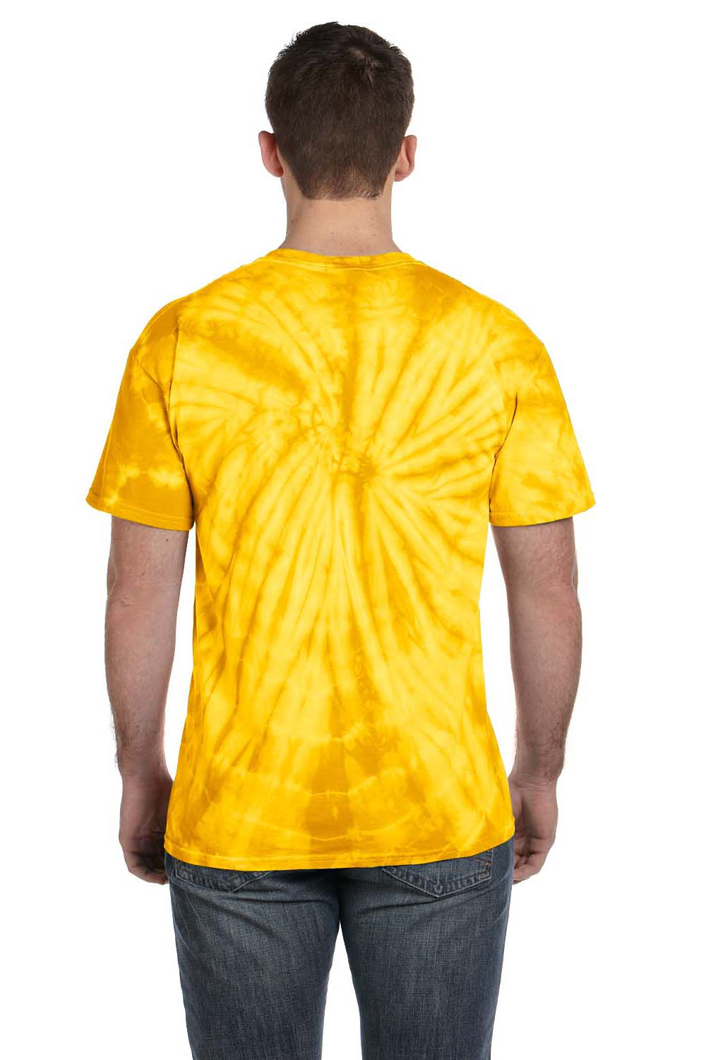 Tie-Dye CD101 Mens Short Sleeve Crewneck T-Shirt Gold Back