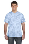 Tie-Dye CD101 Mens Short Sleeve Crewneck T-Shirt Baby Blue Front
