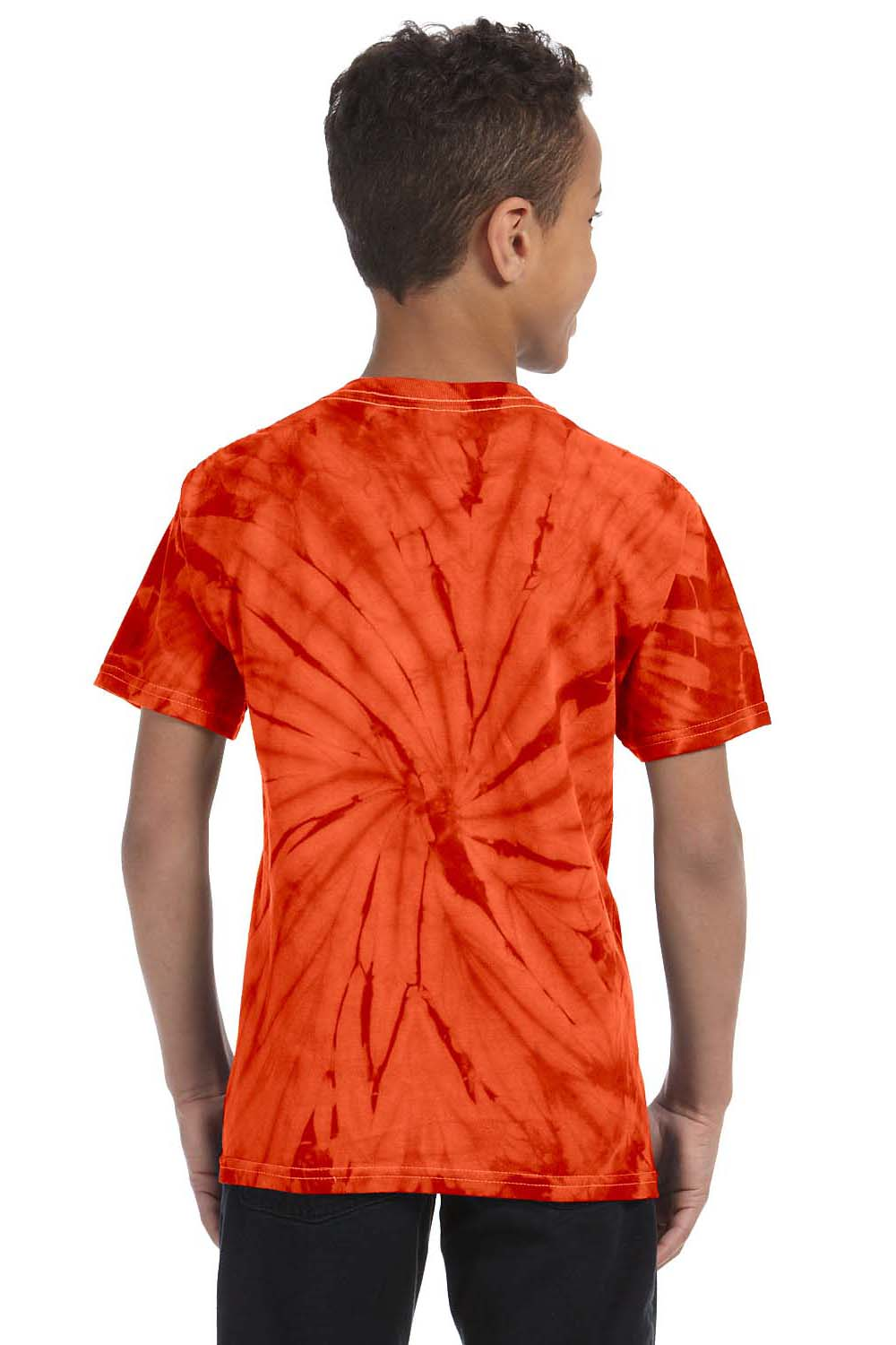 Tie-Dye CD101Y Youth Short Sleeve Crewneck T-Shirt Orange Back