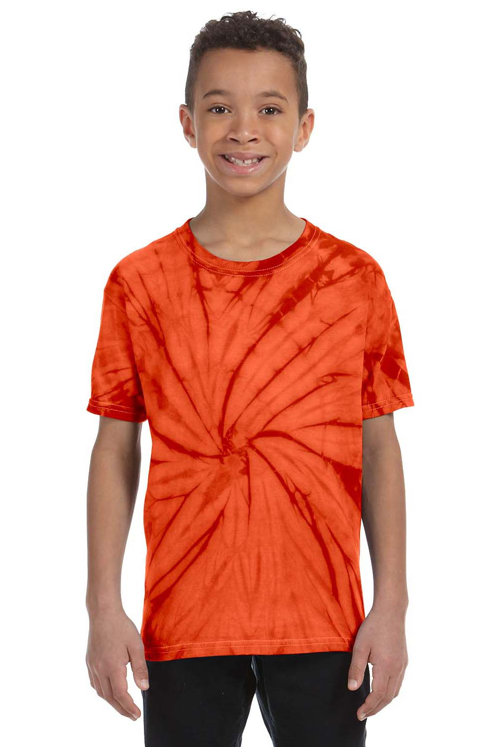 Tie-Dye CD101Y Youth Short Sleeve Crewneck T-Shirt Orange Front