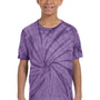 Tie-Dye Youth Short Sleeve Crewneck T-Shirt - Purple
