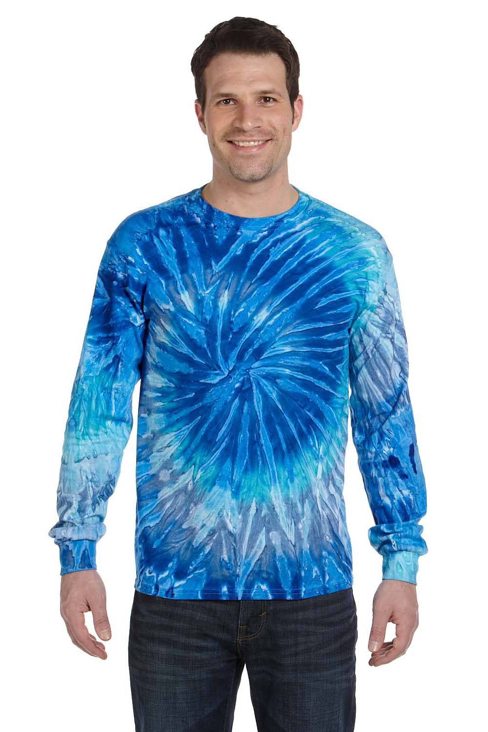 Tie-Dye CD2000 Mens Long Sleeve Crewneck T-Shirt Blue Jerry Front