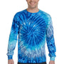 Tie-Dye Mens Long Sleeve Crewneck T-Shirt - Blue Jerry