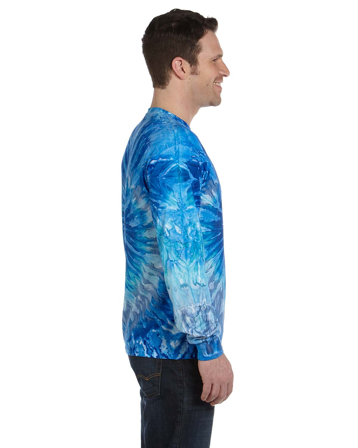Tie-Dye CD2000 Mens Long Sleeve Crewneck T-Shirt Blue Jerry Side