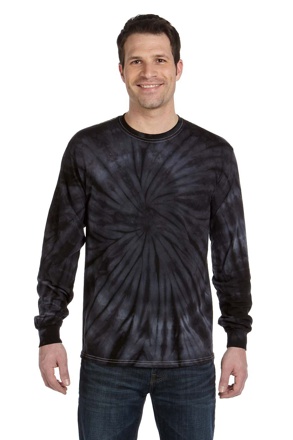 Tie-Dye CD2000 Mens Long Sleeve Crewneck T-Shirt Black Front