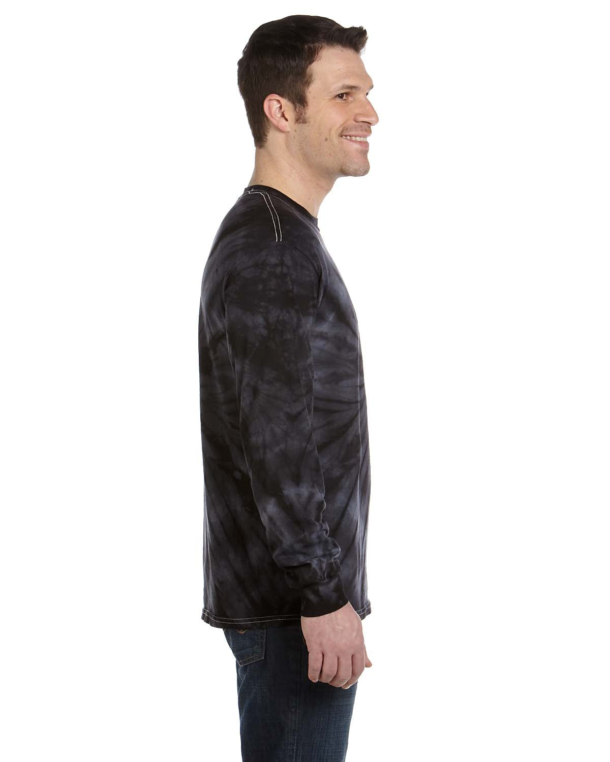 Tie-Dye CD2000 Mens Long Sleeve Crewneck T-Shirt Black Side