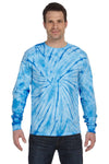 Tie-Dye CD2000 Mens Long Sleeve Crewneck T-Shirt Baby Blue Front