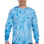 Tie-Dye Mens Long Sleeve Crewneck T-Shirt - Baby Blue