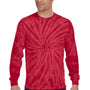 Tie-Dye Mens Long Sleeve Crewneck T-Shirt - Red