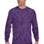 Tie-Dye Mens Long Sleeve Crewneck T-Shirt - Purple