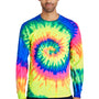 Tie-Dye Mens Long Sleeve Crewneck T-Shirt - Neon Rainbow