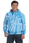 Tie-Dye CD877 Mens Hooded Sweatshirt Hoodie Baby Blue Front