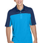 Core 365 Mens Balance Performance Moisture Wicking Short Sleeve Polo Shirt - Electric Blue/Classic Navy Blue