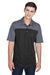 Core 365 CE101 Mens Balance Performance Moisture Wicking Short Sleeve Polo Shirt Black/Grey Front