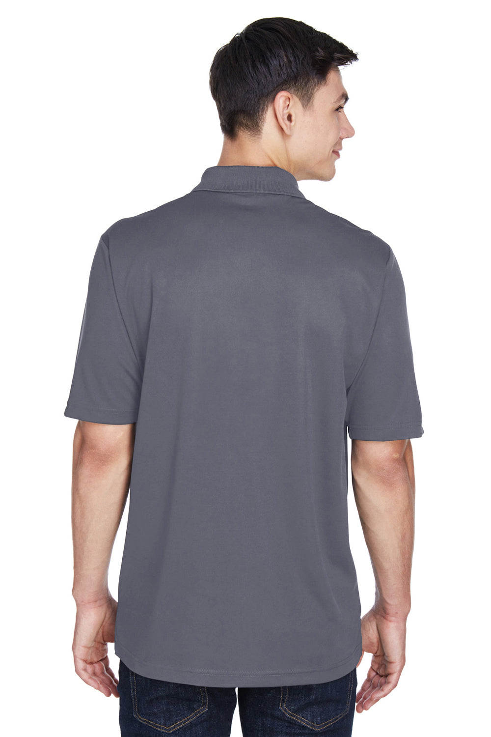 Core 365 CE101 Mens Balance Performance Moisture Wicking Short Sleeve Polo Shirt Black/Grey Back