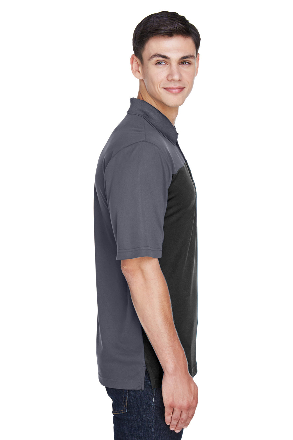 Core 365 CE101 Mens Balance Performance Moisture Wicking Short Sleeve Polo Shirt Black/Grey Side