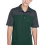 Core 365 Mens Balance Performance Moisture Wicking Short Sleeve Polo Shirt - Forest Green/Carbon Grey