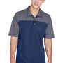 Core 365 Mens Balance Performance Moisture Wicking Short Sleeve Polo Shirt - Classic Navy Blue/Carbon Grey