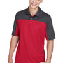 Core 365 Mens Balance Performance Moisture Wicking Short Sleeve Polo Shirt - Classic Red/Carbon Grey