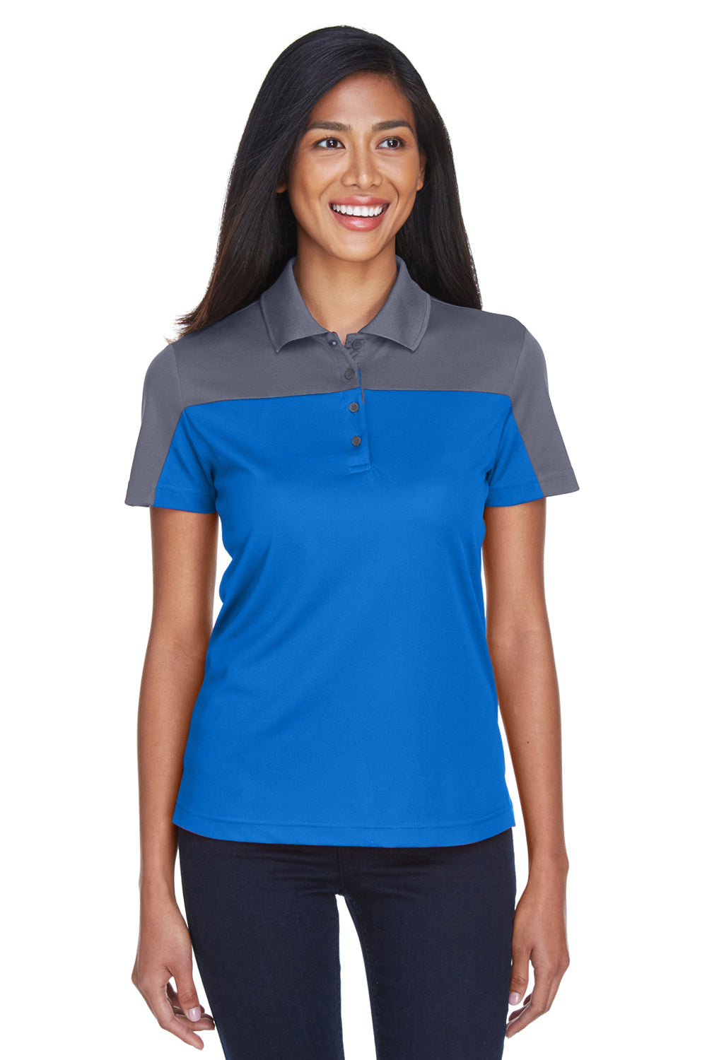 Core 365 CE101W Womens Balance Performance Moisture Wicking Short Sleeve Polo Shirt Royal Blue/Grey Front