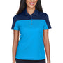 Core 365 Womens Balance Performance Moisture Wicking Short Sleeve Polo Shirt - Electric Blue/Classic Navy Blue