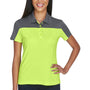 Core 365 Womens Balance Performance Moisture Wicking Short Sleeve Polo Shirt - Safety Yellow/Carbon Grey