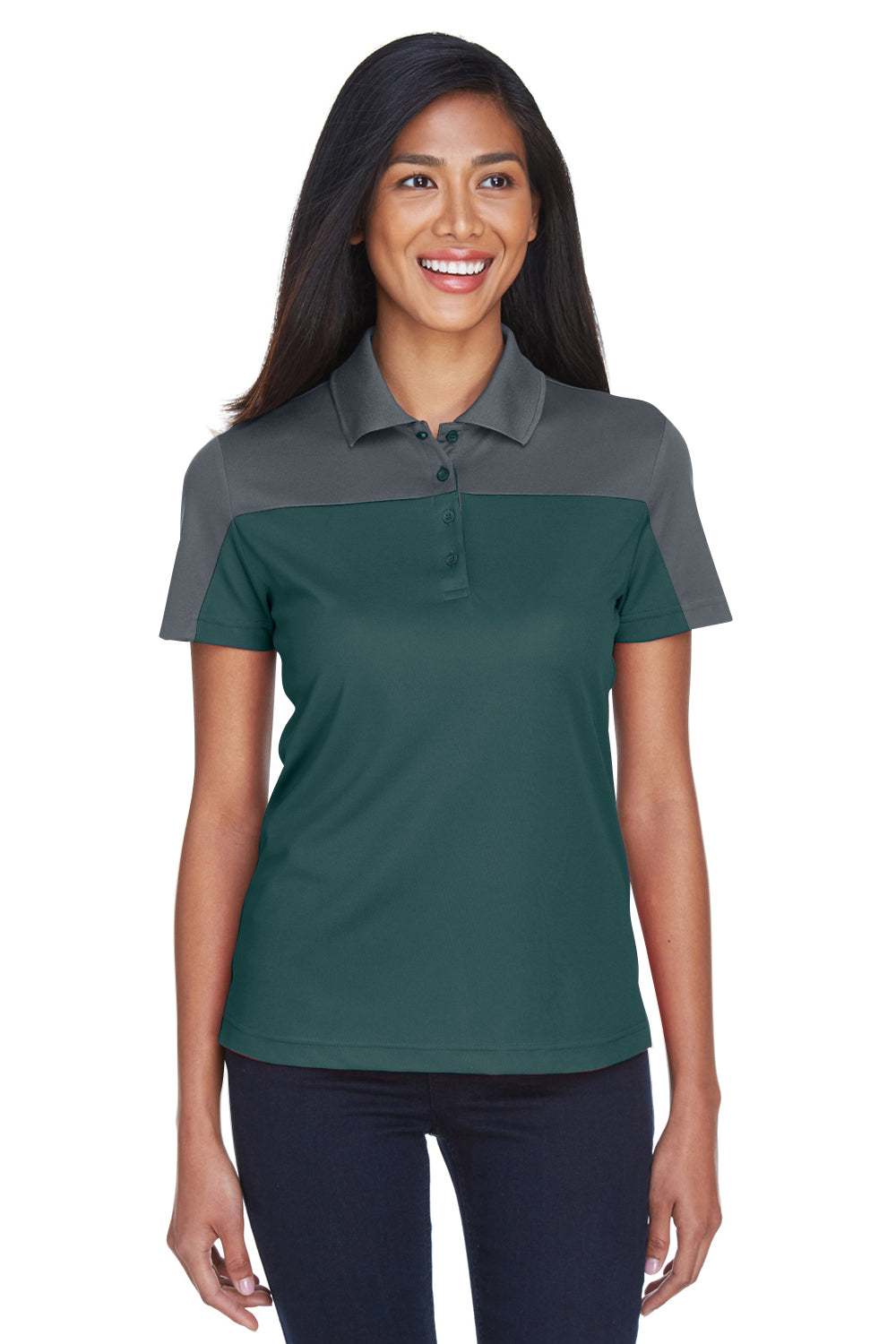 Core 365 CE101W Womens Balance Performance Moisture Wicking Short Sleeve Polo Shirt Forest Green/Grey Front