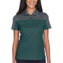 Core 365 Womens Balance Performance Moisture Wicking Short Sleeve Polo Shirt - Forest Green/Carbon Grey
