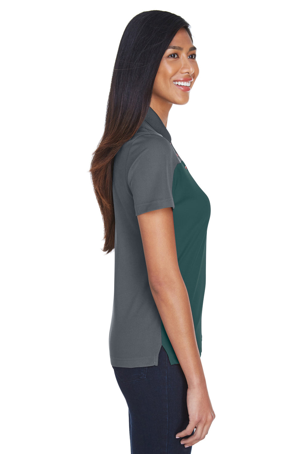 Core 365 CE101W Womens Balance Performance Moisture Wicking Short Sleeve Polo Shirt Forest Green/Grey Side