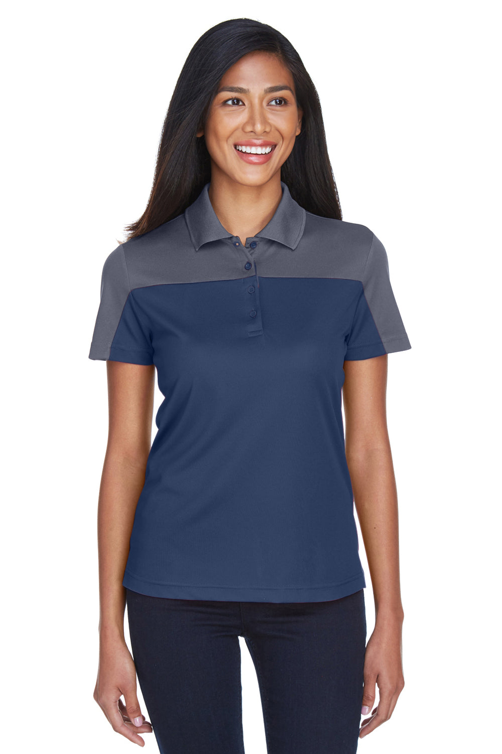 Core 365 CE101W Womens Balance Performance Moisture Wicking Short Sleeve Polo Shirt Navy Blue/Grey Front