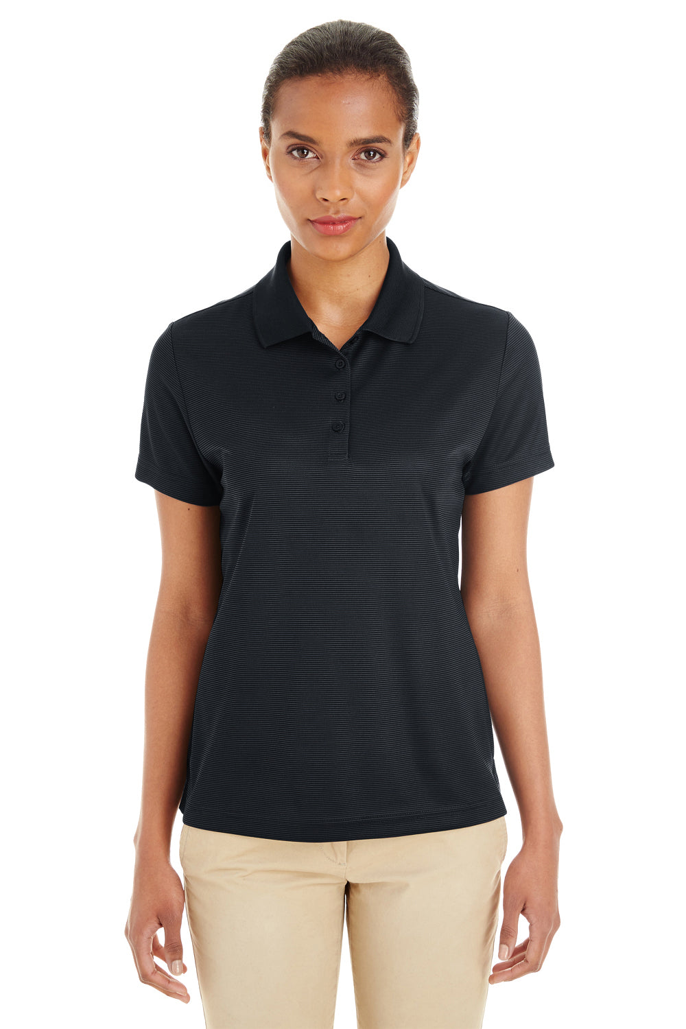 Core 365 CE102W Womens Express Performance Moisture Wicking Short Sleeve Polo Shirt Black Front