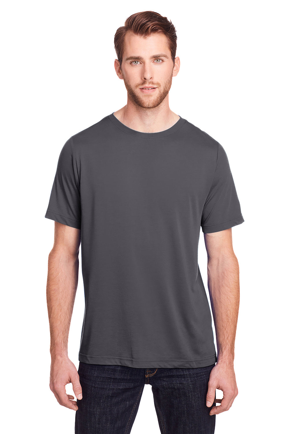 Core 365 CE111 Mens Fusion ChromaSoft Performance Moisture Wicking Short Sleeve Crewneck T-Shirt Carbon Grey Front