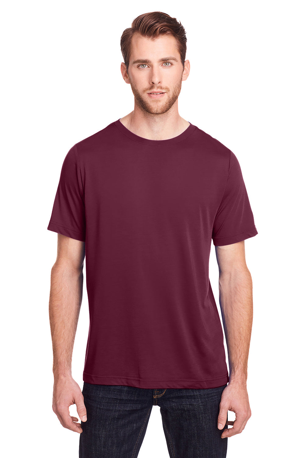 Core 365 CE111 Mens Fusion ChromaSoft Performance Moisture Wicking Short Sleeve Crewneck T-Shirt Burgundy Front