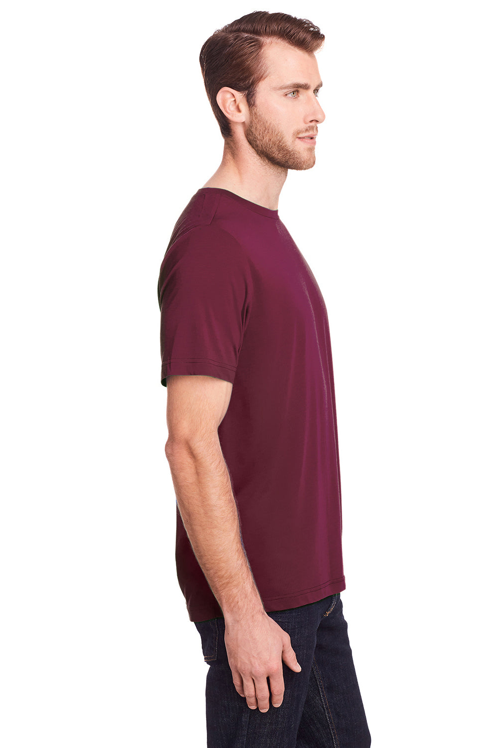 Core 365 CE111 Mens Fusion ChromaSoft Performance Moisture Wicking Short Sleeve Crewneck T-Shirt Burgundy Side