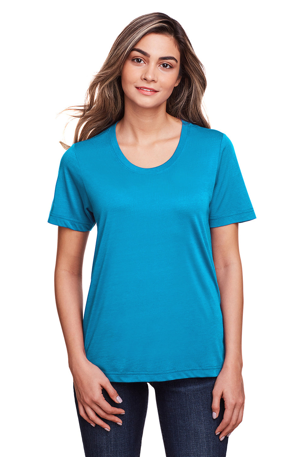Core 365 CE111W Womens Fusion ChromaSoft Performance Moisture Wicking Short Sleeve Scoop Neck T-Shirt Electric Blue Front
