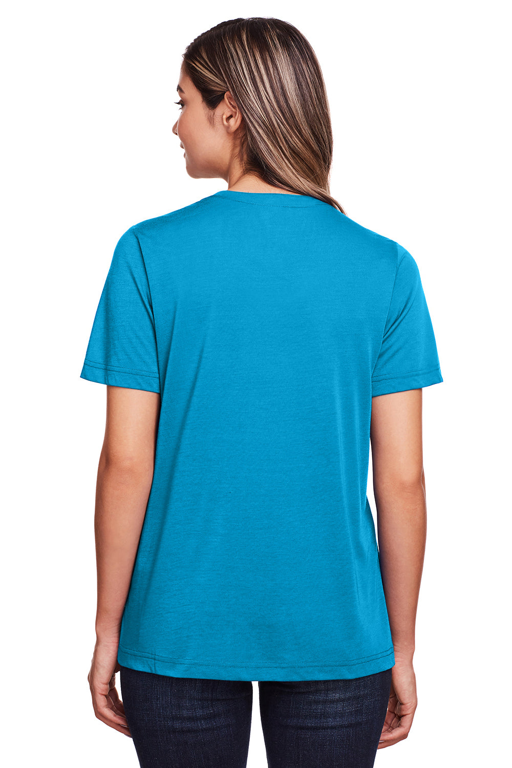 Core 365 CE111W Womens Fusion ChromaSoft Performance Moisture Wicking Short Sleeve Scoop Neck T-Shirt Electric Blue Back