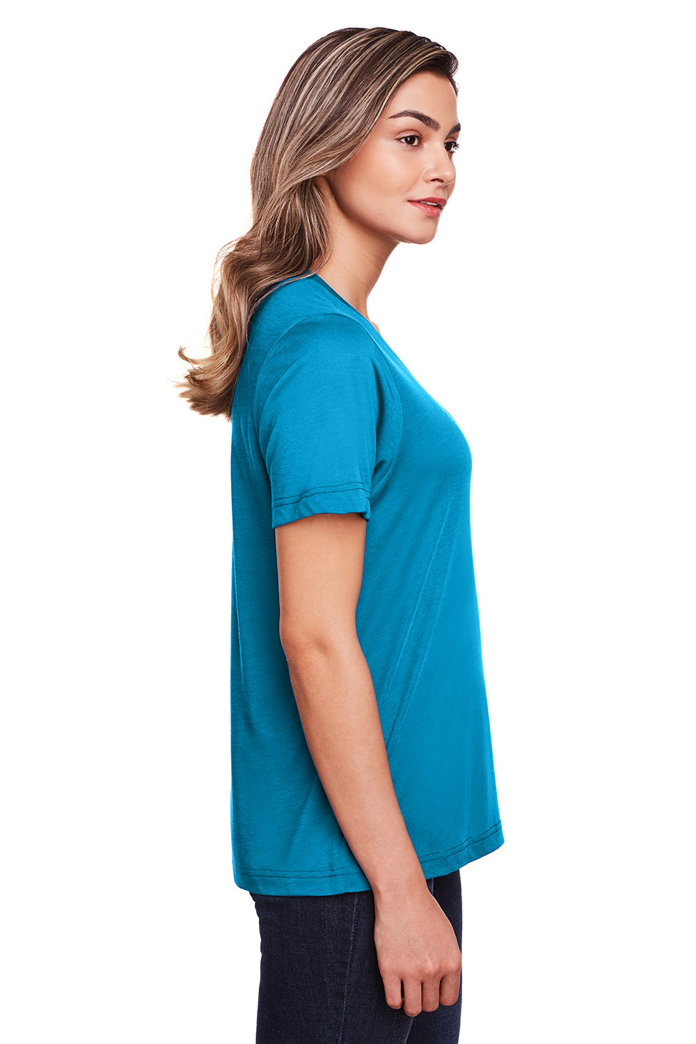 Core 365 CE111W Womens Fusion ChromaSoft Performance Moisture Wicking Short Sleeve Scoop Neck T-Shirt Electric Blue Side