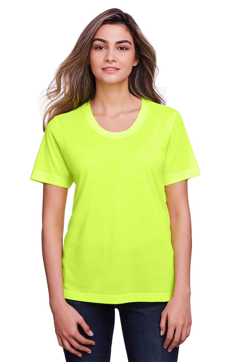 Core 365 CE111W Womens Fusion ChromaSoft Performance Moisture Wicking Short Sleeve Scoop Neck T-Shirt Safety Yellow Front