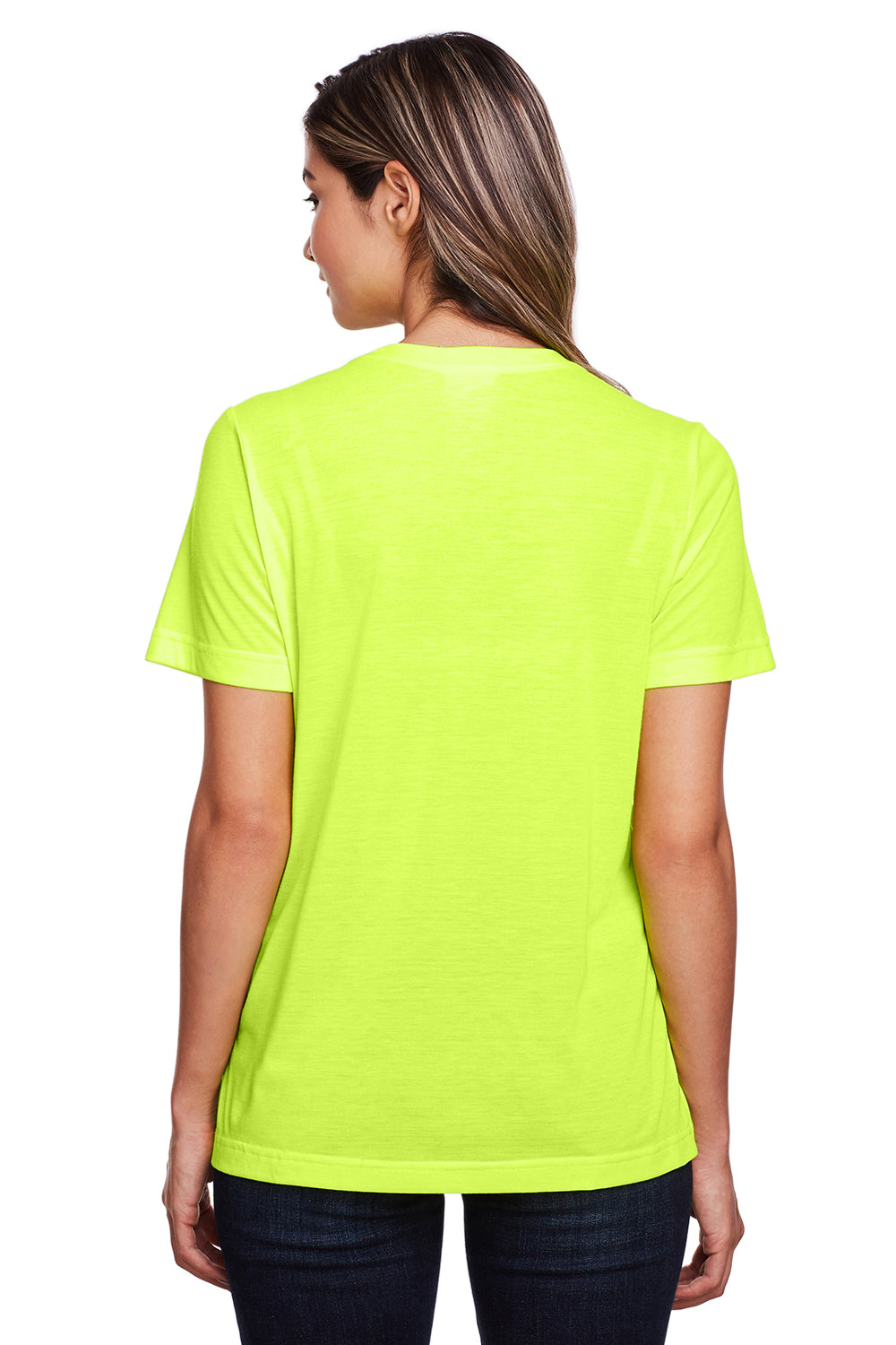 Core 365 CE111W Womens Fusion ChromaSoft Performance Moisture Wicking Short Sleeve Scoop Neck T-Shirt Safety Yellow Back