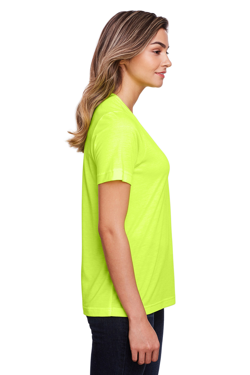 Core 365 CE111W Womens Fusion ChromaSoft Performance Moisture Wicking Short Sleeve Scoop Neck T-Shirt Safety Yellow Side
